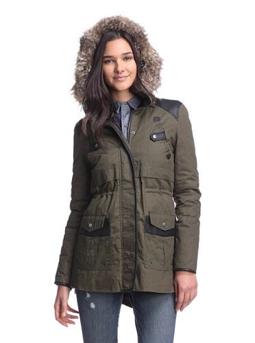 Circus by Sam Edelman Women's Waxed Cotton Anorak with Faux Fur (Olive)