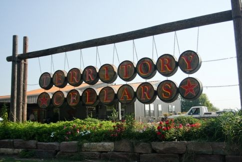 Enjoy a tasting and then a glass of your favorite wine on the patio at Territory Cellars in Stroud, Oklahoma.