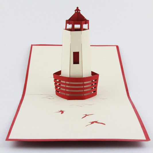 3d lighthouse pop up card greeting card for friend by for 3d paper lighthouse template