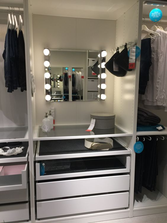 ikea pax build in makeup station house ideas pinterest. Black Bedroom Furniture Sets. Home Design Ideas