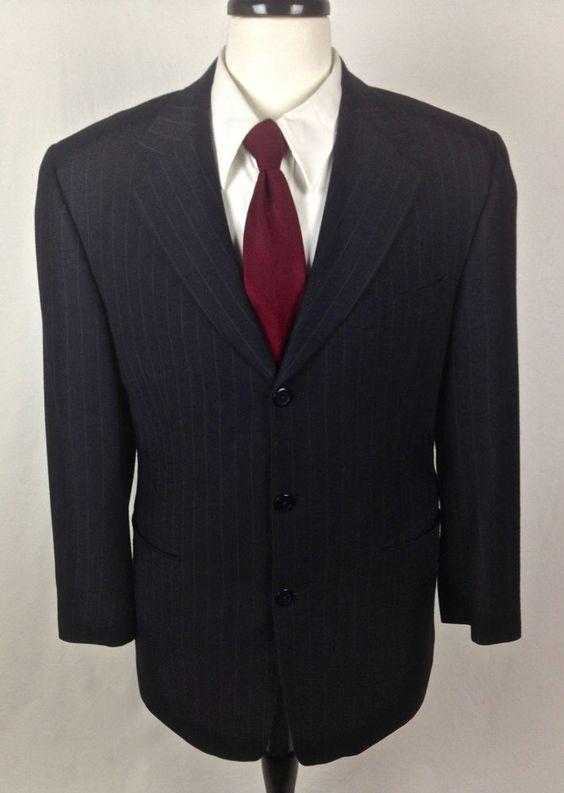 Jhane Barnes Blazer 38 Navy Blue Wool Pinstripe Sport Coat Jacket ...