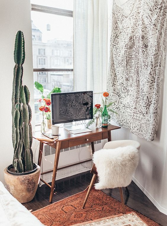 Mid century desk at the workspace in the bedroom of Tessa Barton - shop the style on my blog
