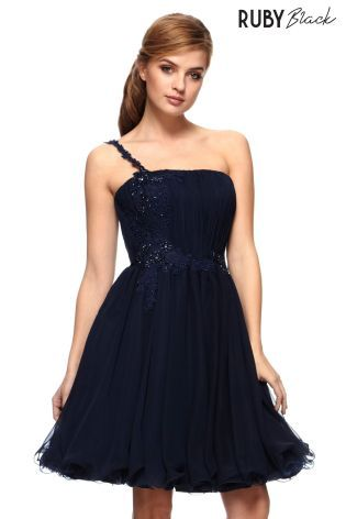 Buy Ruby Black Short Chiffon And Lace Beaded One Shoulder Dress With Full Skirt from the Next UK online shop