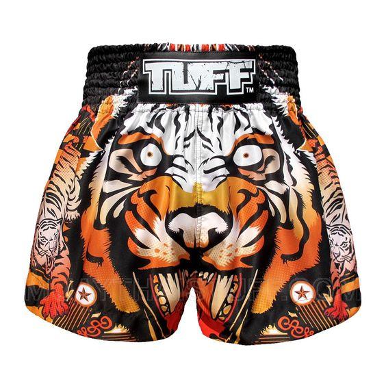 TUFF Muay Thai Boxing Shorts Orange Cruel Tiger