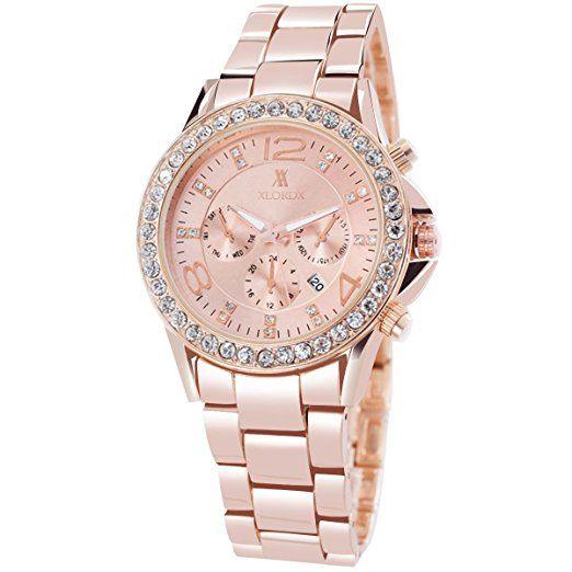 Xlordx Classic Designer Datum Strass Damenuhr Rosegold Uhr Edelstahl Chronograph Optik Silber Strassuhr Armbanduhr Watch Armbanduhr Damenuhr Rosegold Damenuhr