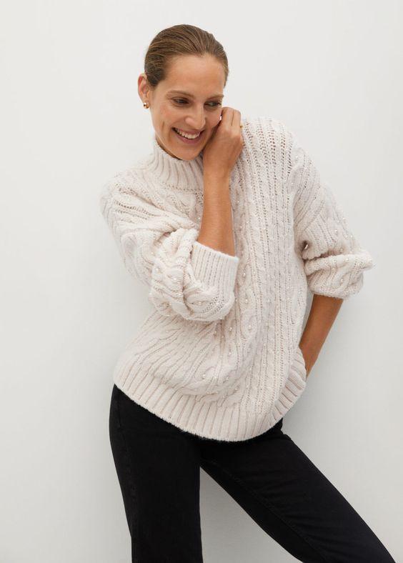 Camisola com aplicação de bordado de contas - Cardigãs e camisolas de Mulher | Mango Portugal