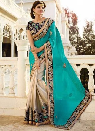 Turquoise Embroidery Sequins Patch Work Stone Work Georgette Half Wedding Sarees http://www.angelnx.com/Sarees/Wedding-Sarees