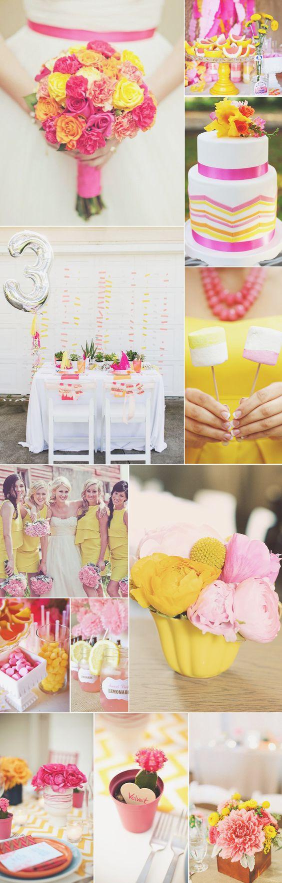 Inspire-se: ideias para casamento rosa pink e amarelo: