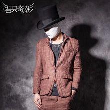 Hot! Mannen nieuwe zomer koffie chinese stijl vintage vloeistof top bovenkleding pak slanke toevallige herenkleding zanger coustumes(China (Mainland))