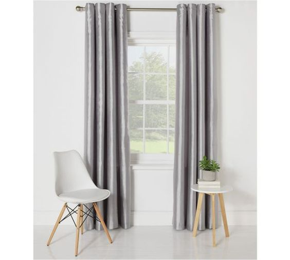 Buy Collection Ella Faux Silk Lined Curtain Set-168x137 -Silver at ...