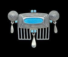 ANDREAS ODENWALD Jugendstil Brooch Silver Enamel W  3.80 cm (1.50 in)     D  2.00 cm (0.79 in) OriginGerman, c. 1905 MarksAO monogram 900 & GESCHUTZ CaseFitted Case Tadema Gallery