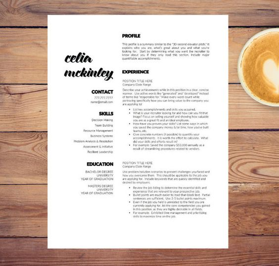 Creative CV Template for Word and Pages  - brochure format word