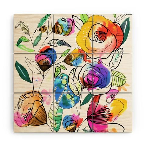 Coloured Flowers Credenza Cayenablanca Color Flowers Abstract Painting