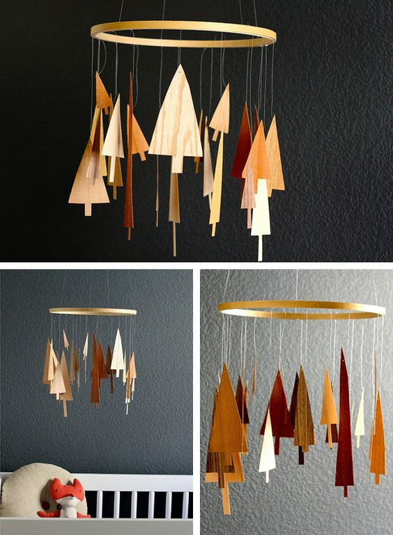 Wooden tree mobiles