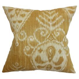 "Cotton pillow with an ikat design and feather-down fill. Made in the USA.   Product: PillowConstruction Material: Cotton and 95/5 down fillColor: DijonFeatures:  Insert includedHidden zipper closureMade in the USA Dimensions: 18"" x 18""Cleaning and Care: Spot clean"
