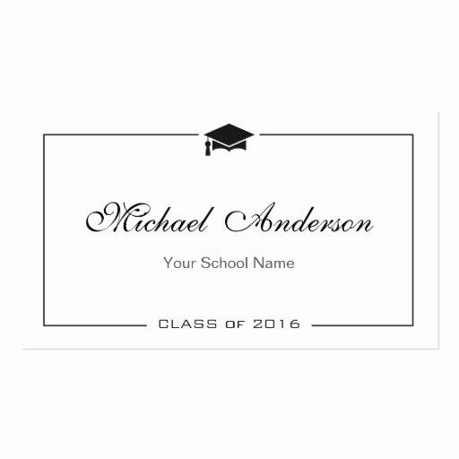 Free Printable Graduation Name Cards Fresh Graduation Name Card Elegant Classic Insert Card Double Card Templates Printable Name Cards Party Invite Template