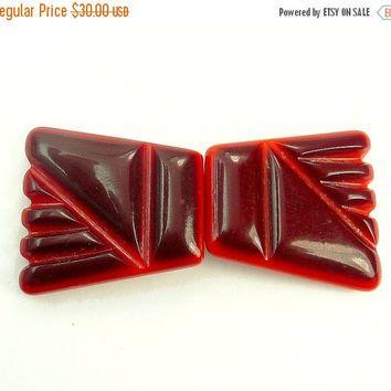 Art Deco Carved Red Bakelite Buckle
