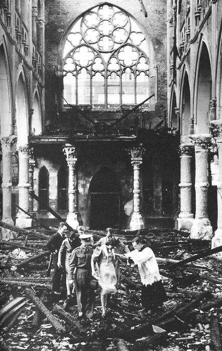 A wedding is performed in a bombed church in London during World War 2.