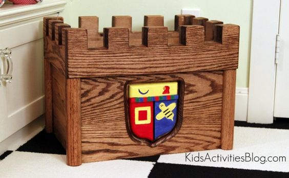 What a fun castle-themed toy chest for young children!