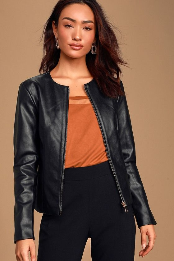 Lulus Exclusive Bold But Chic The Lulus Never Back Down Black Vegan Leather Jacket Is Going To Black Vegan Leather Jacket Leather Jacket Vegan Leather Jacket