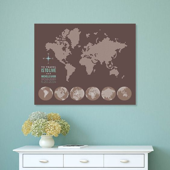 Interactive Family Map Wall Decor Modern Dot Family Travel Map – Family Travel Map