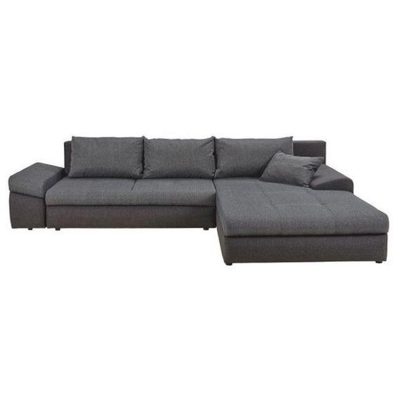 Ecksofa Webstoff Bettkasten, Rückenkissen, Schlaffunktion - design armsessel schlafcouch flop