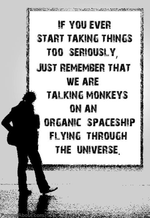If you ever start taking things too seriously, just remember that we are all talking monkeys on an organic spaceship flying through the universe.