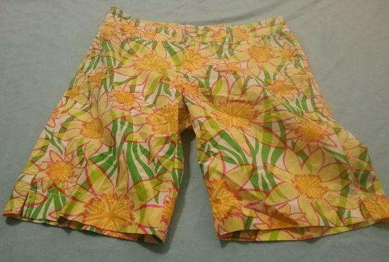 Lilly Pulitzer Yellow Sunflower Design Long Shorts Resort Fit Sz 2 (H4) #LillyPulitzer #longshorts