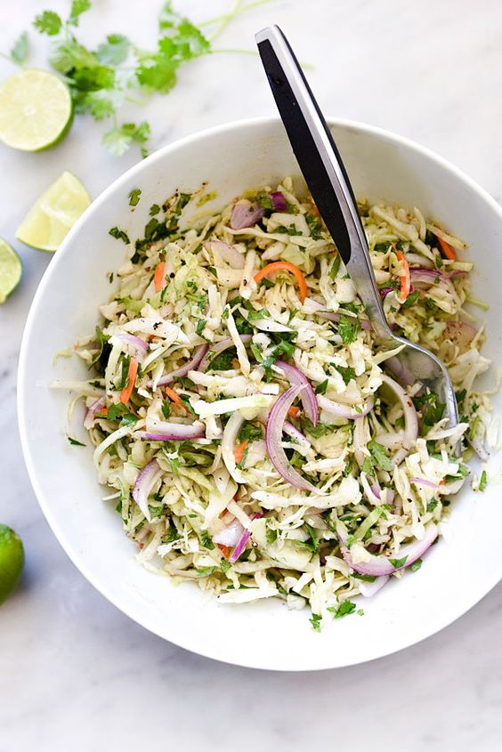 This super simple Mexican-flavored coleslaw is perfect for picnics, BBQs and potlucks because its mayo-free and takes just a few minutes to toss together.