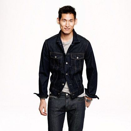 Denim jacket in dark rinse wash - cotton - Men&39s outerwear - J