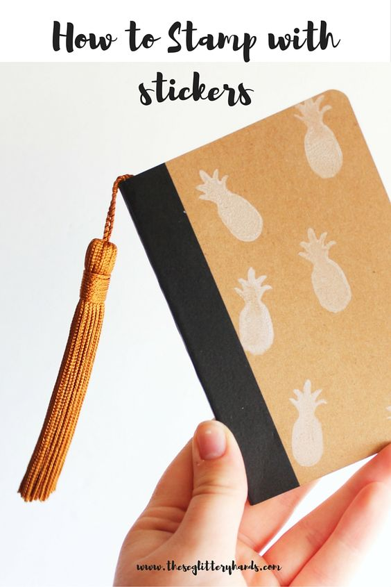 How to stamp using stickers to create a DIY pineapple stamped notebook.