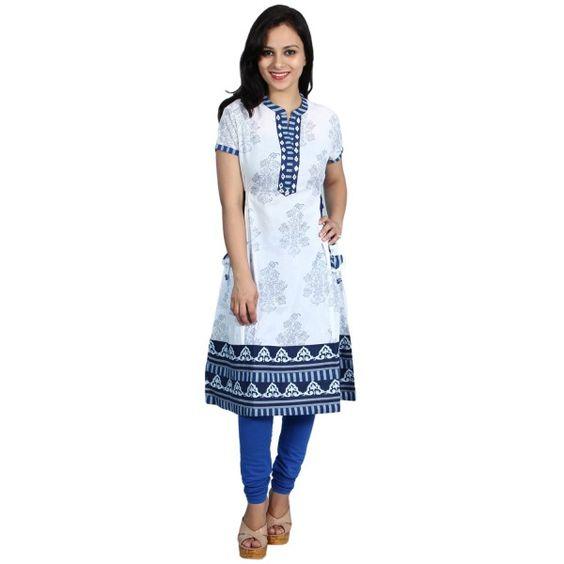 Cotton Printed Kurti White Blue - Satarangi Bazar