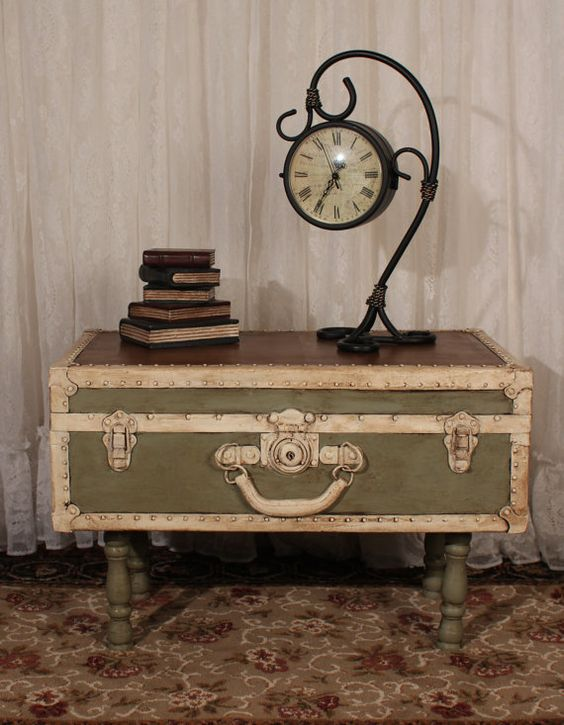 Shabby Chic Vintage Trunk Table in Chateau by TheShabbyChicAttic, $175.00