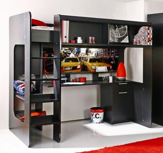 hochbett urban hochbett jugendbett bett leiter schreibtisch m bel kinderzimmer. Black Bedroom Furniture Sets. Home Design Ideas