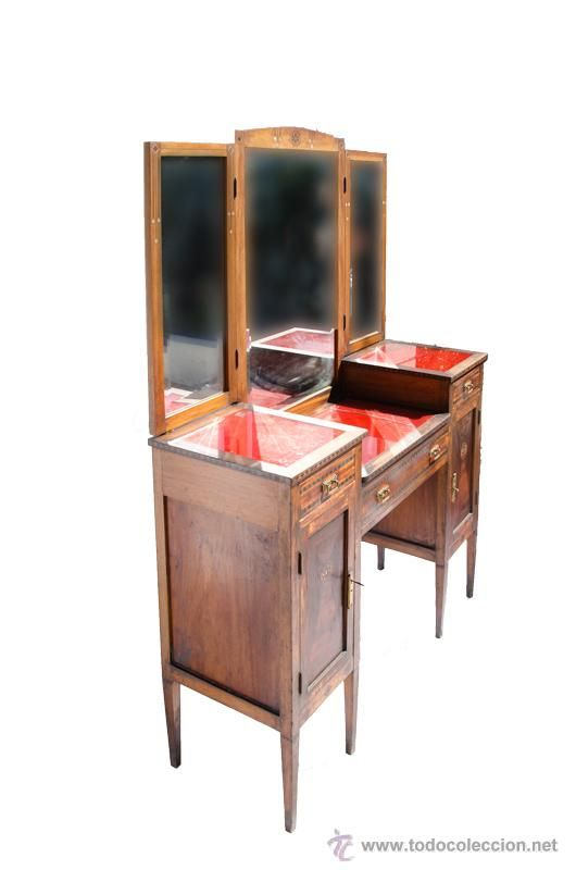 Tocador antiguo de madera con marqueter a muebles - Muebles antiguos de madera ...