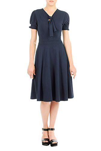 eShakti Women's Custom Styling enabled Tie-neck cotton knit dress XL-16 Deep navy eShakti http://www.amazon.com/dp/B016ENVQ54/ref=cm_sw_r_pi_dp_zWqMwb0CNRMES