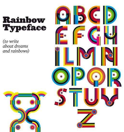 Rainbow Typeface: to write about dreams an rainbows