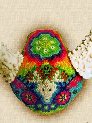 FinderMaker: Deer Skull Embellished in the Style of the Huichol Indians of Mexico.: