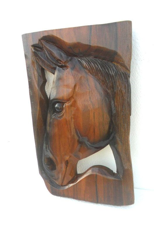 Teak wood carving horse head natural wall