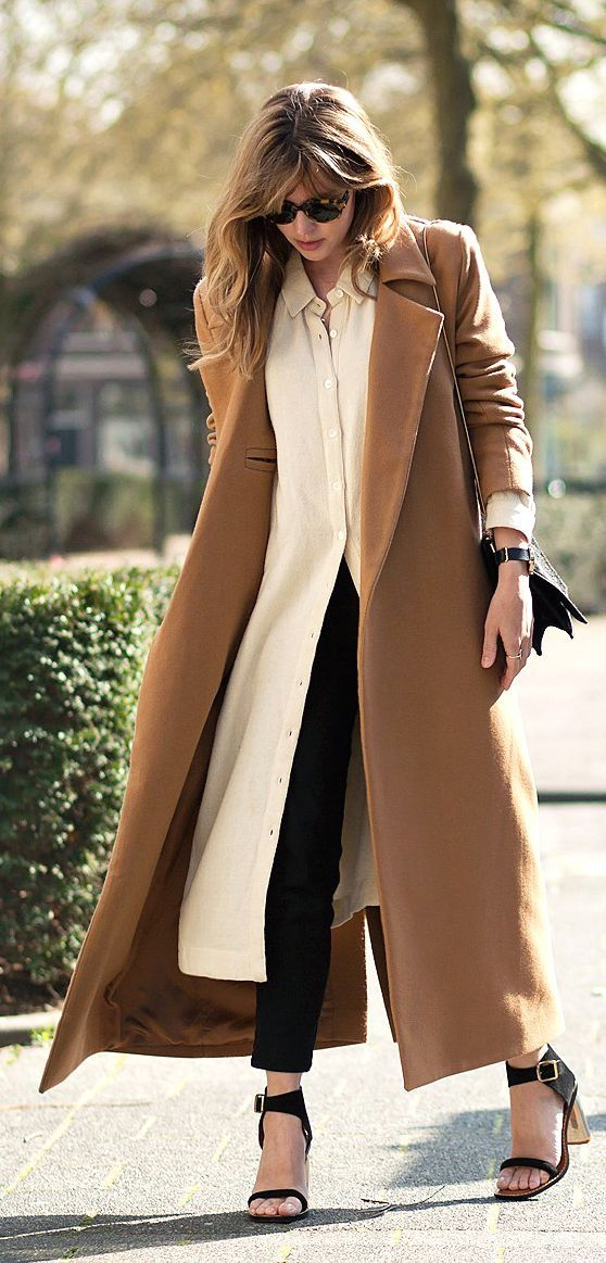 Camel Long Coat Casual Streetstyle by Fash n Chips