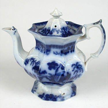 Flow blue teapot