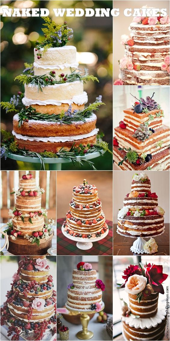no icing wedding cakes