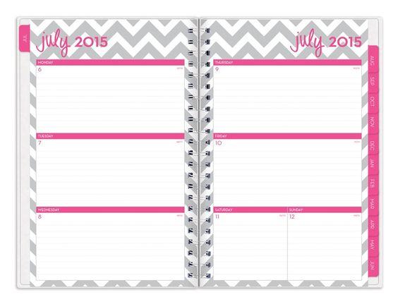 """Dabney Lee for Blue Sky  """"Ollie"""" Medium  Tabbed Weekly/Monthly Wire-O   Planner"""