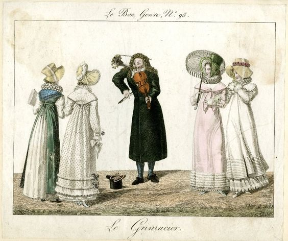 Plate 95: a street performer playing a violin and trumpet while pulling a face, watched by four ladies wearing hats. October 1816 Hand-coloured etching: