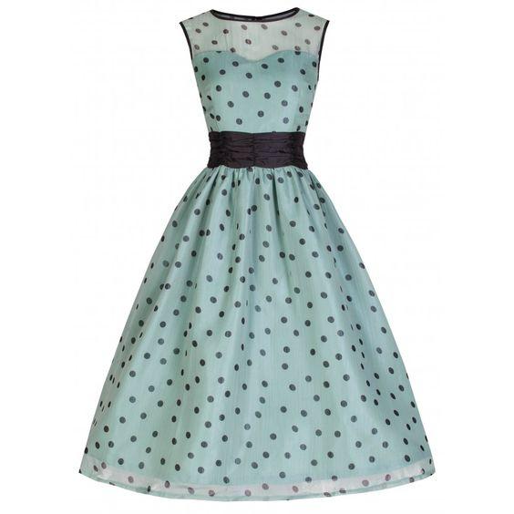'Cindy' Popularly Pretty Polka Dot Print Vintage 50's Party Dress