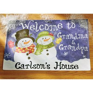 """Personalized 'Welcome to' Snowman Doormat 17"""" x 27"""", Walmart.com for mom and dad"""