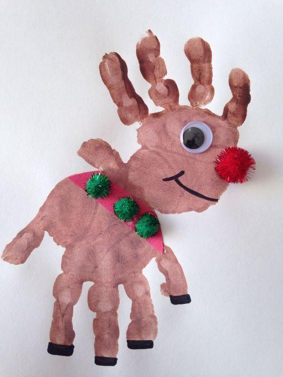 DIY Christmas Crafts for Kids - Handprint reindeer finger painting idea.