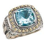 Eleganza Cushion Blue Topaz Ring