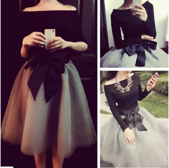 Love Love Love This Dress! SO GORGEOUS! Black Patchwork Grenadine Sash Off Shoulder Boat Neck 2-in-1 Dress: