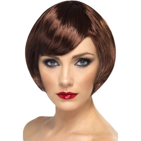 Babe Adult Costume Short Bob Brown Wig